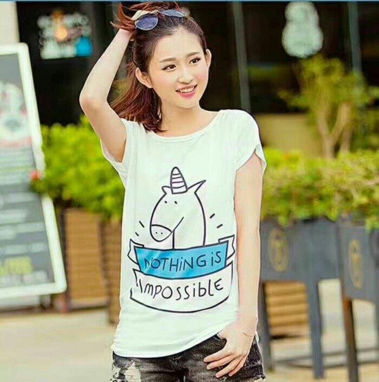 蝙蝠弹力牛奶丝棉女T恤衫 6元 夏季服装 第10张
